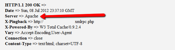 Check Site is Running Apache